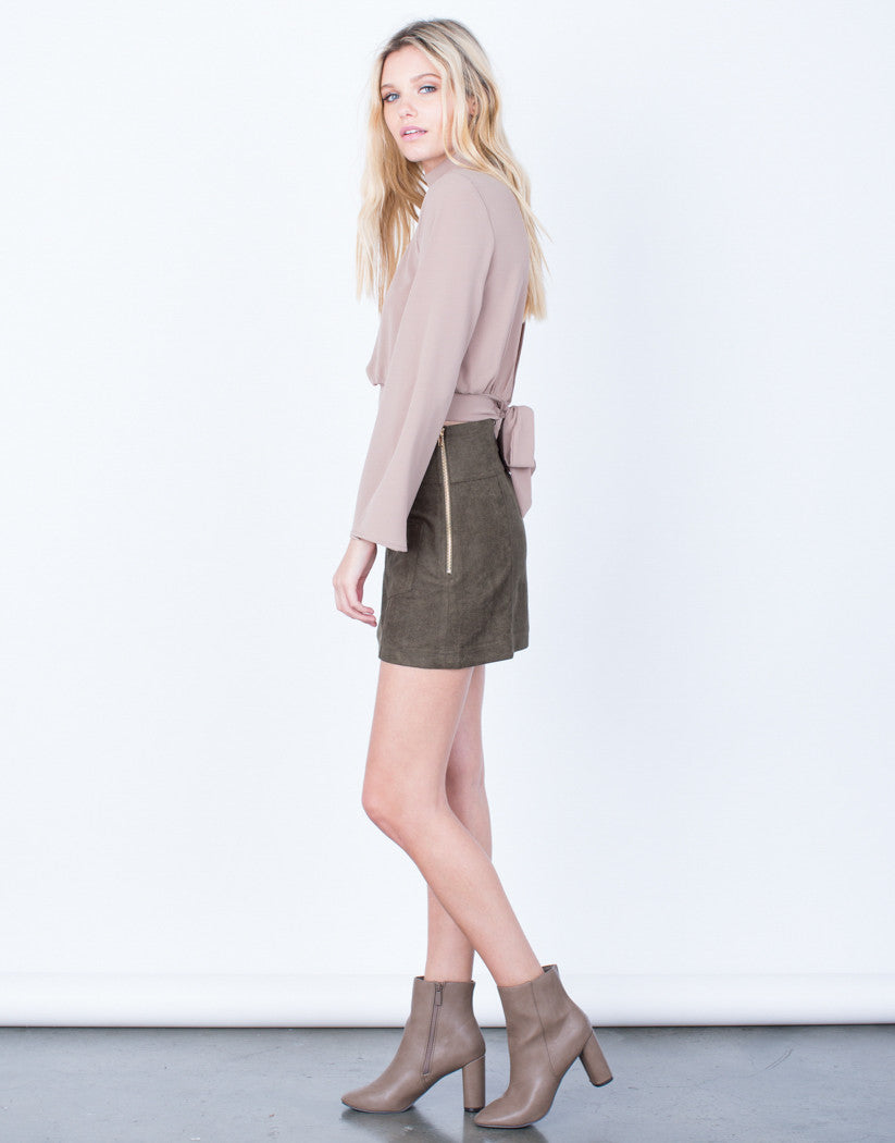 Side View of Golden Zip Suede Mini Skirt