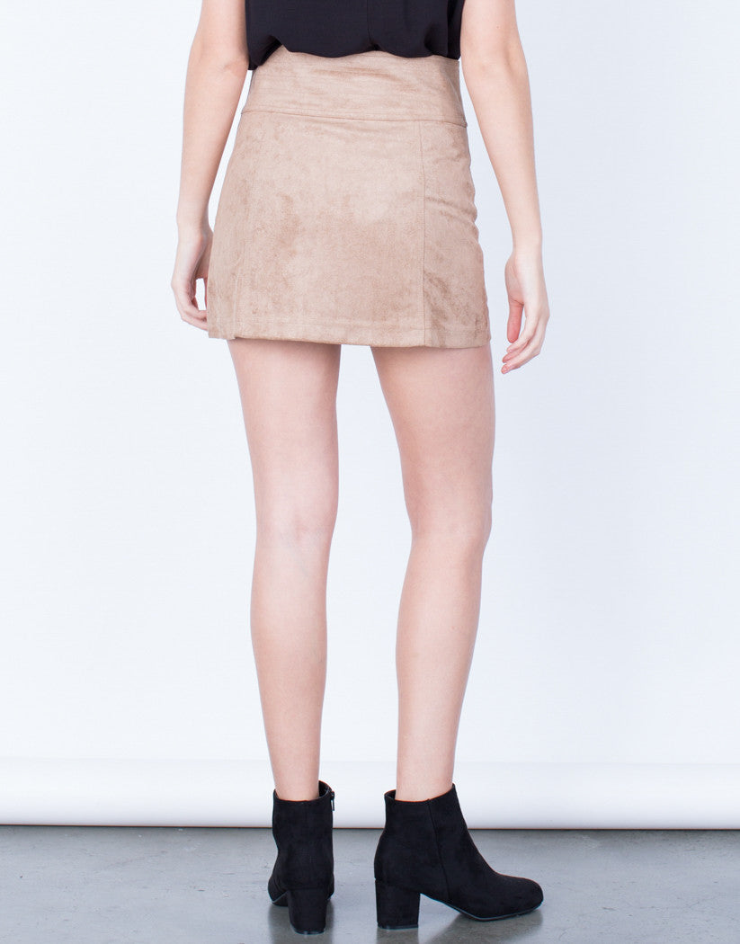 Back View of Golden Zip Suede Mini Skirt