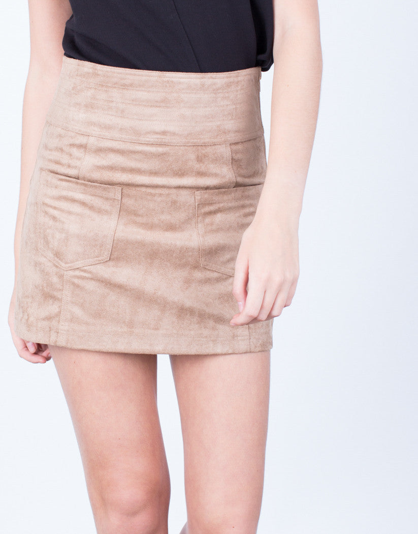 Detail of Golden Zip Suede Mini Skirt