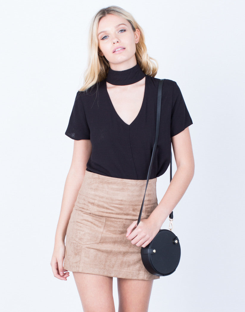 Front View of Golden Zip Suede Mini Skirt