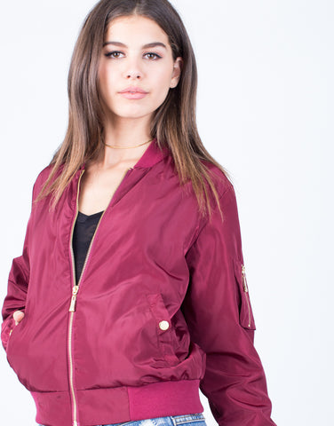 Golden Zip Up Bomber Jacket - 2020AVE