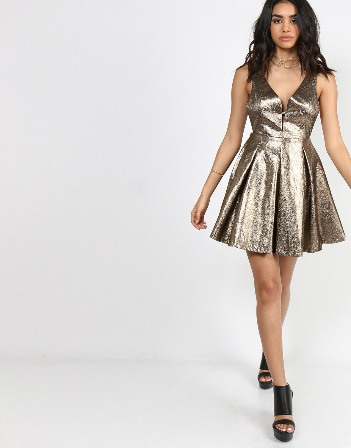 Golden Deep V Party Dress