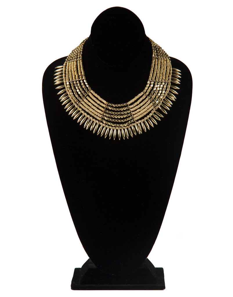 Golden Embellished Beaded Collar Necklace - 2020AVE