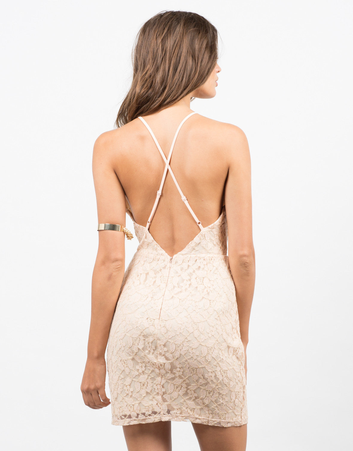Back View of Golden Lacey Dress