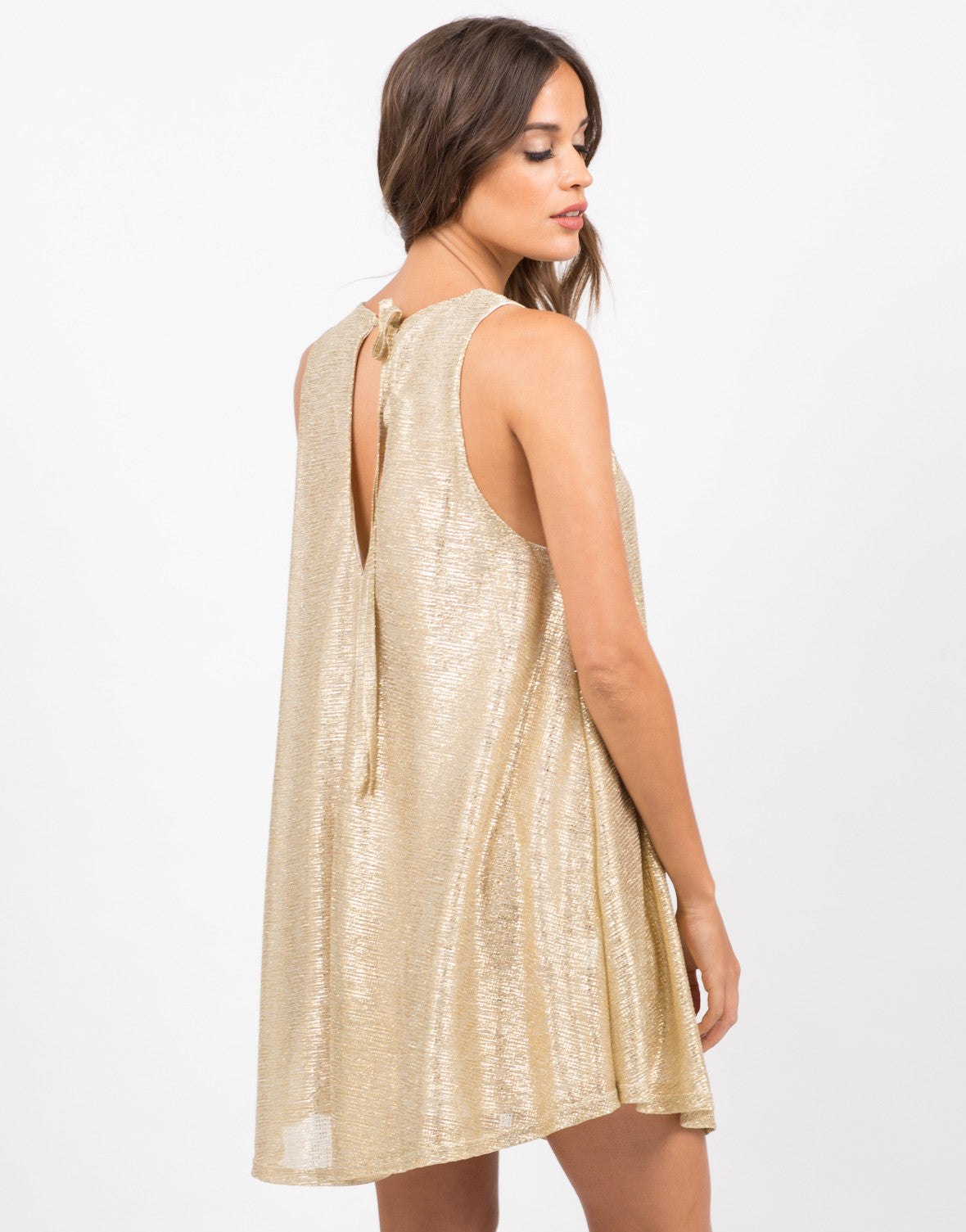 Back View of Golden Party Dress