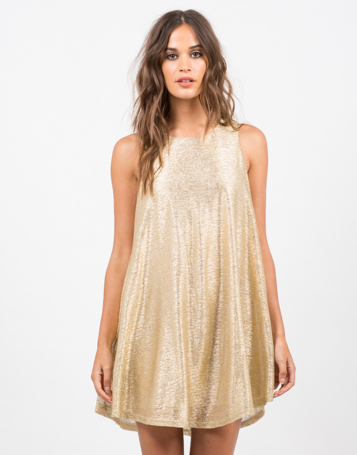 Front View of Golden Party Dress