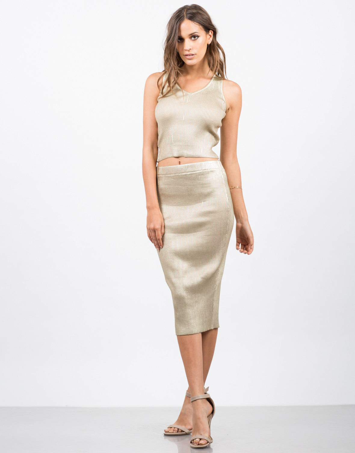 Front View of Golden Ribbed Midi Skirt