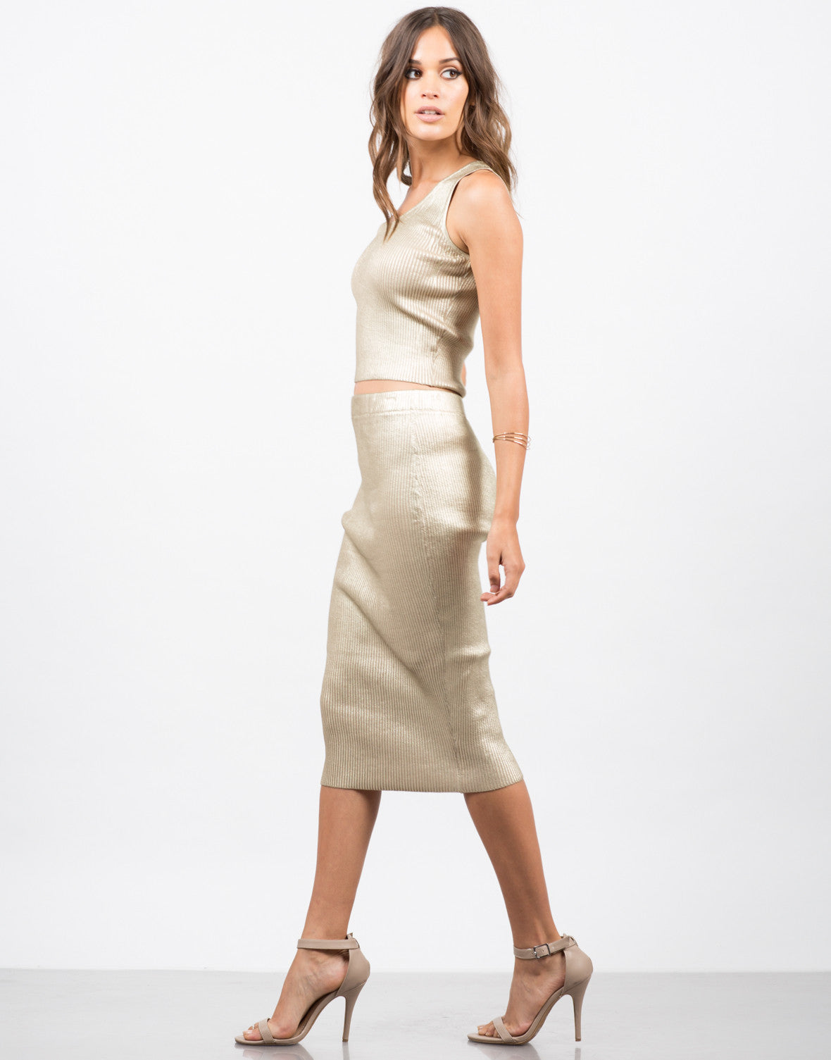 Side View of Golden Ribbed Midi Skirt