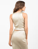 Back View of Golden Ribbed Top