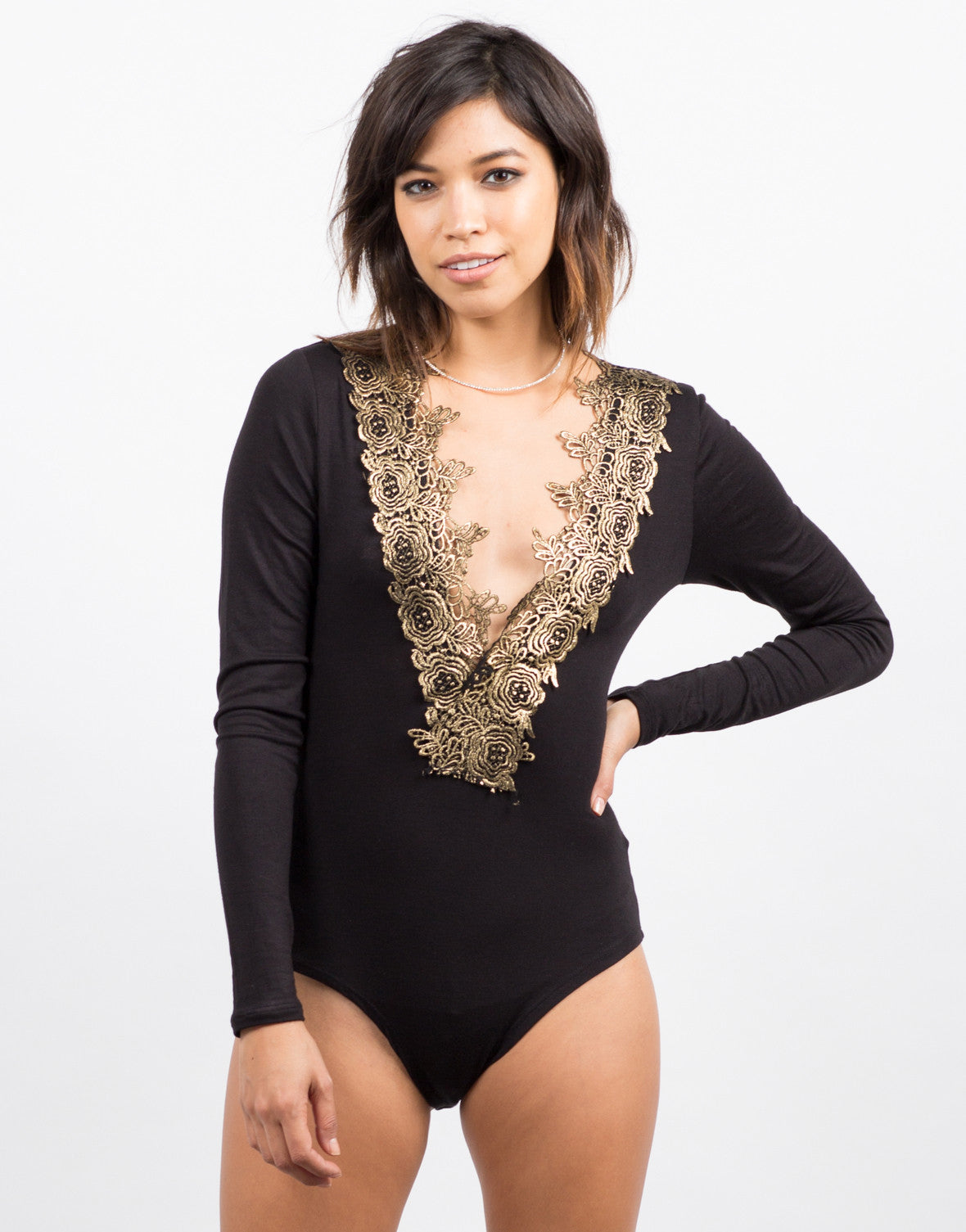 Front View of Golden Rose Bodysuit
