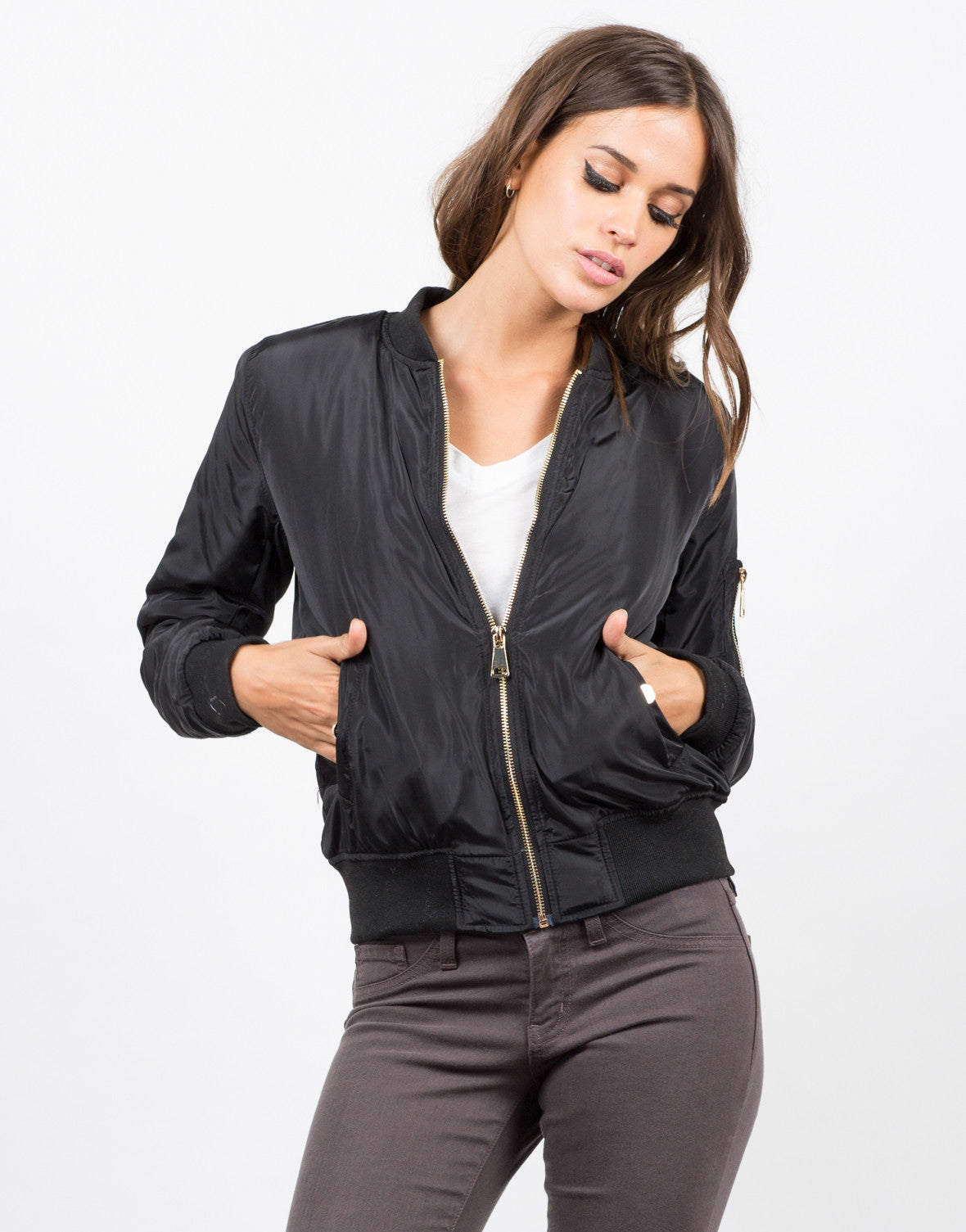 Front  View of Gold Zippered Bomber Jacket