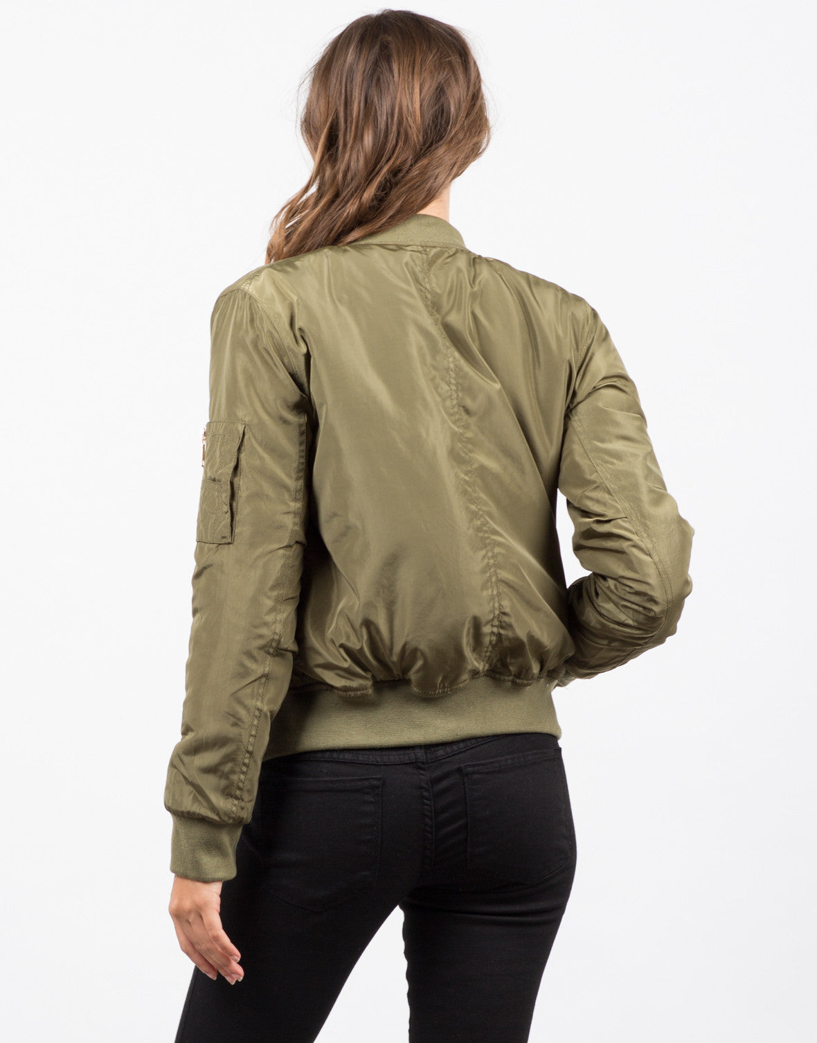 Back  View of Gold Zippered Bomber Jacket