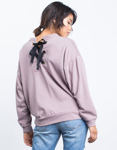 Grace Lace-Up Sweater