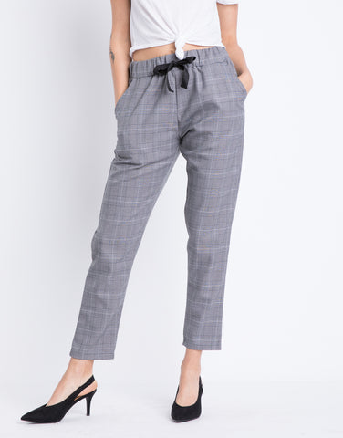 Gray Plaid Drawstring Pants