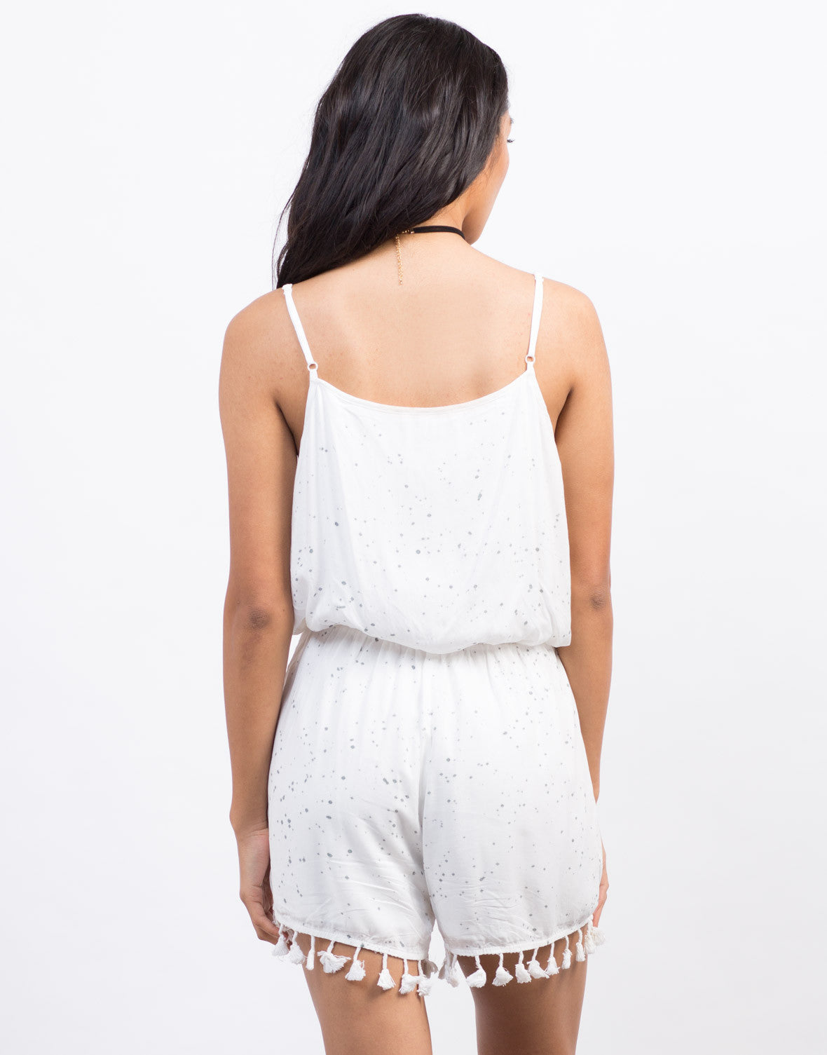 Back View of Gray Splash Tassel Romper