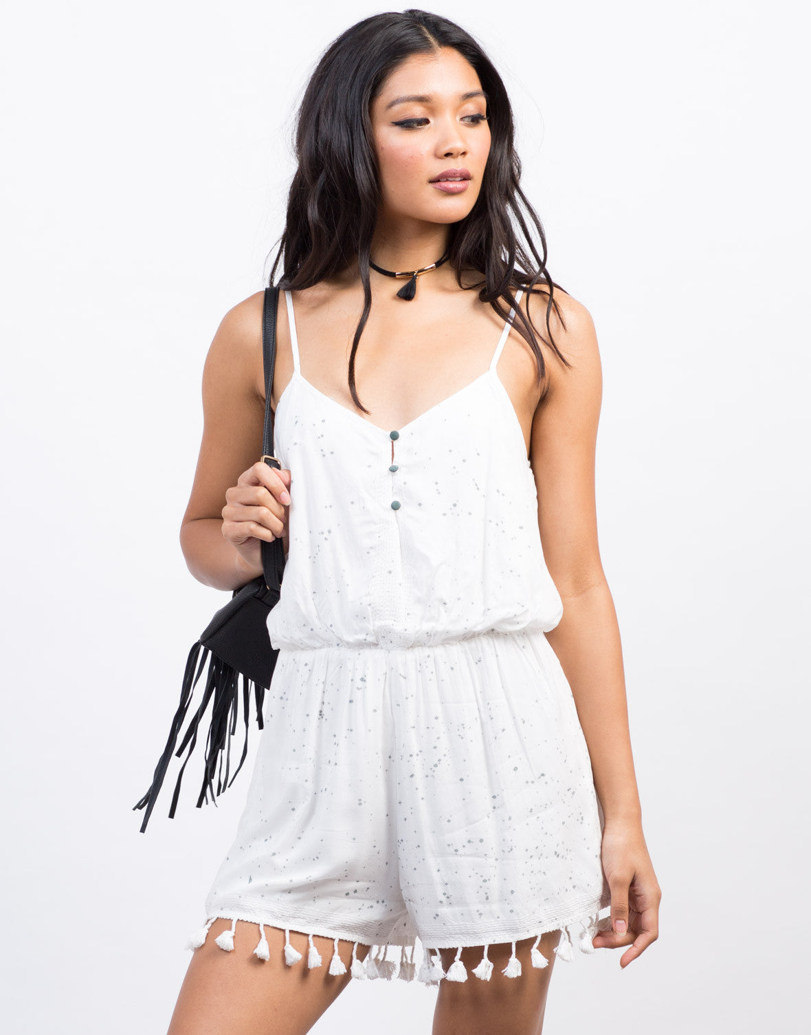 Front View of Gray Splash Tassel Romper
