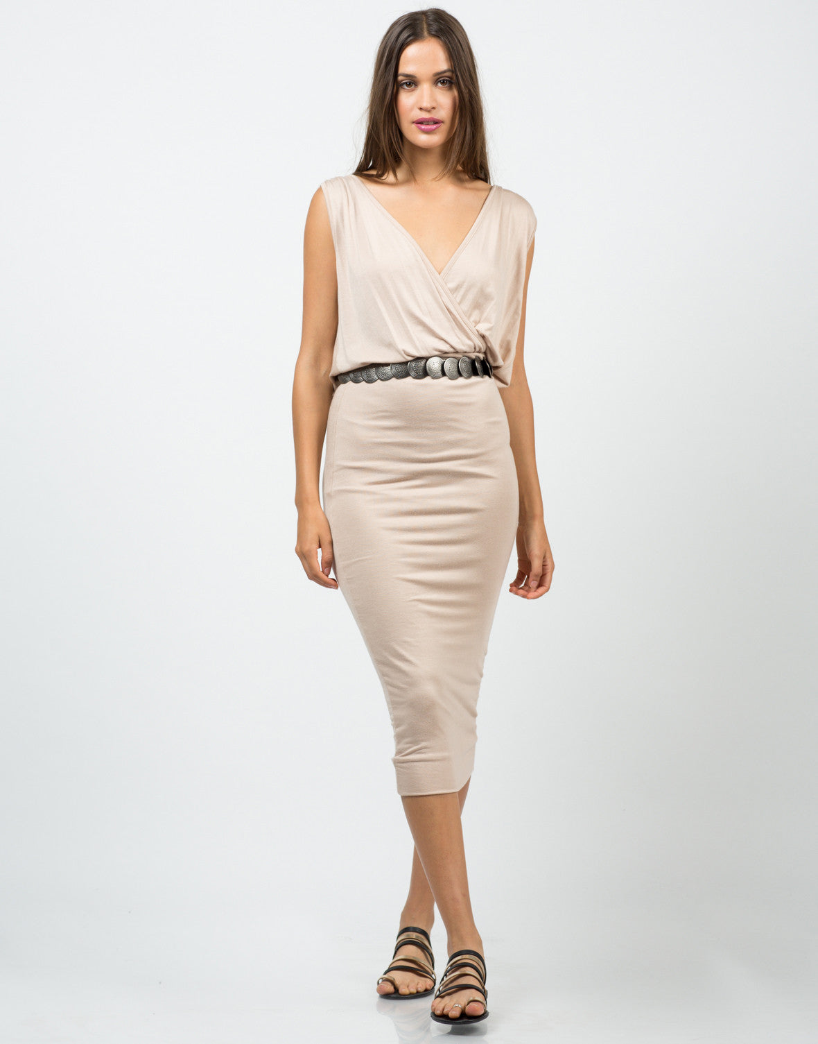 Front View of Grecian Midi Dress
