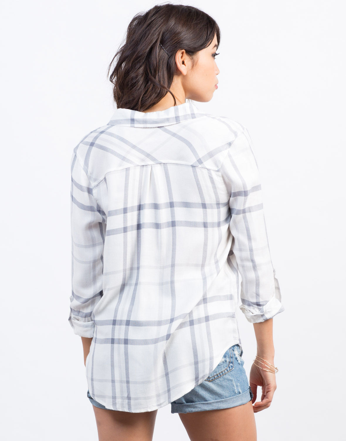 Back View of Grid Buttoned Blouse