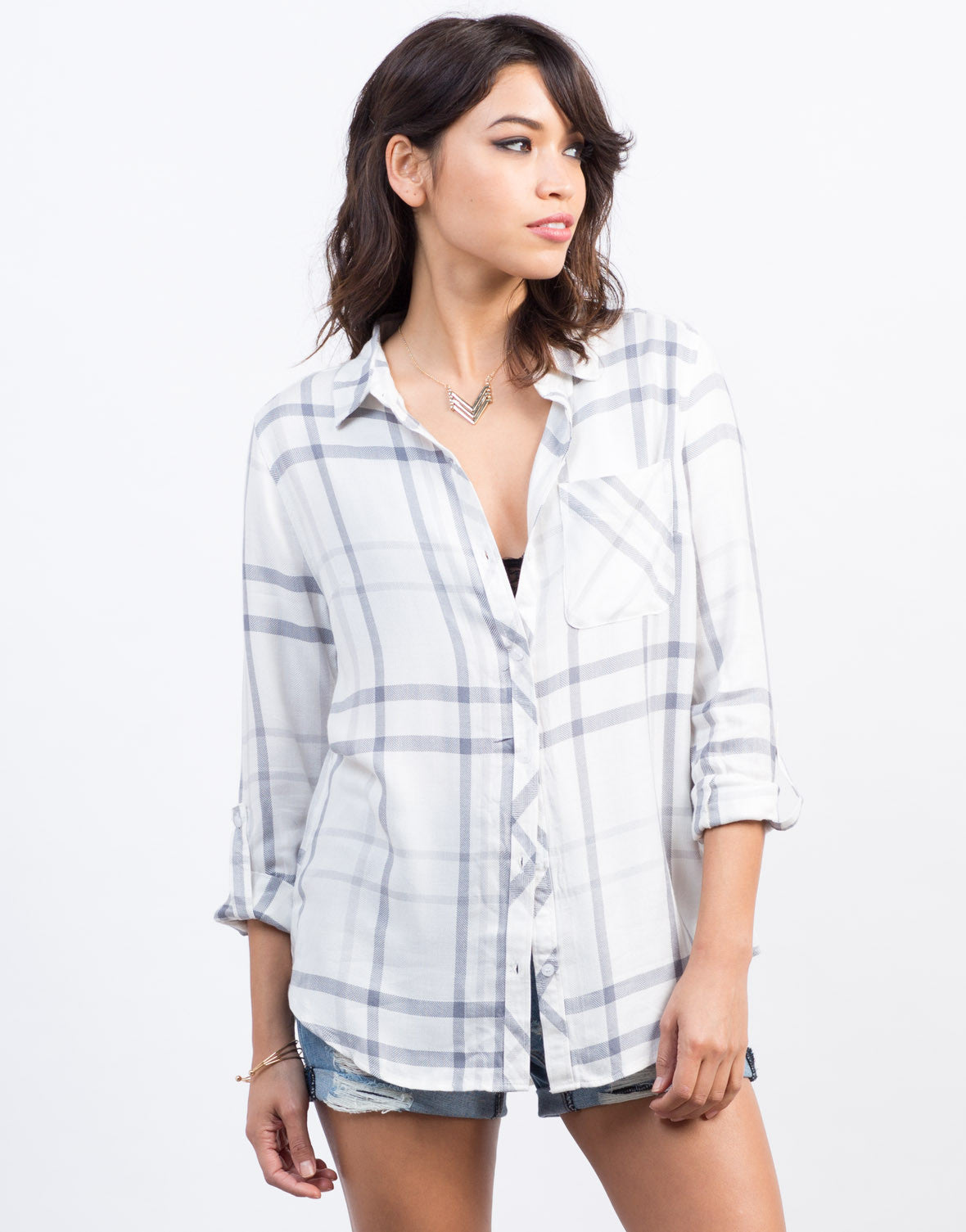 Front View of Grid Buttoned Blouse