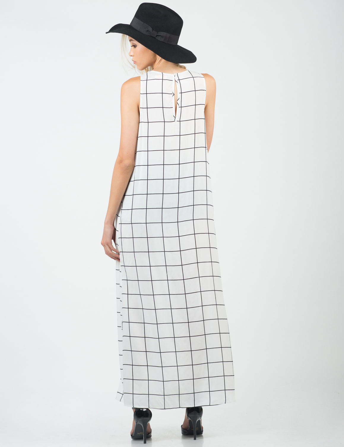 Back View of Gridline Shirt Dress
