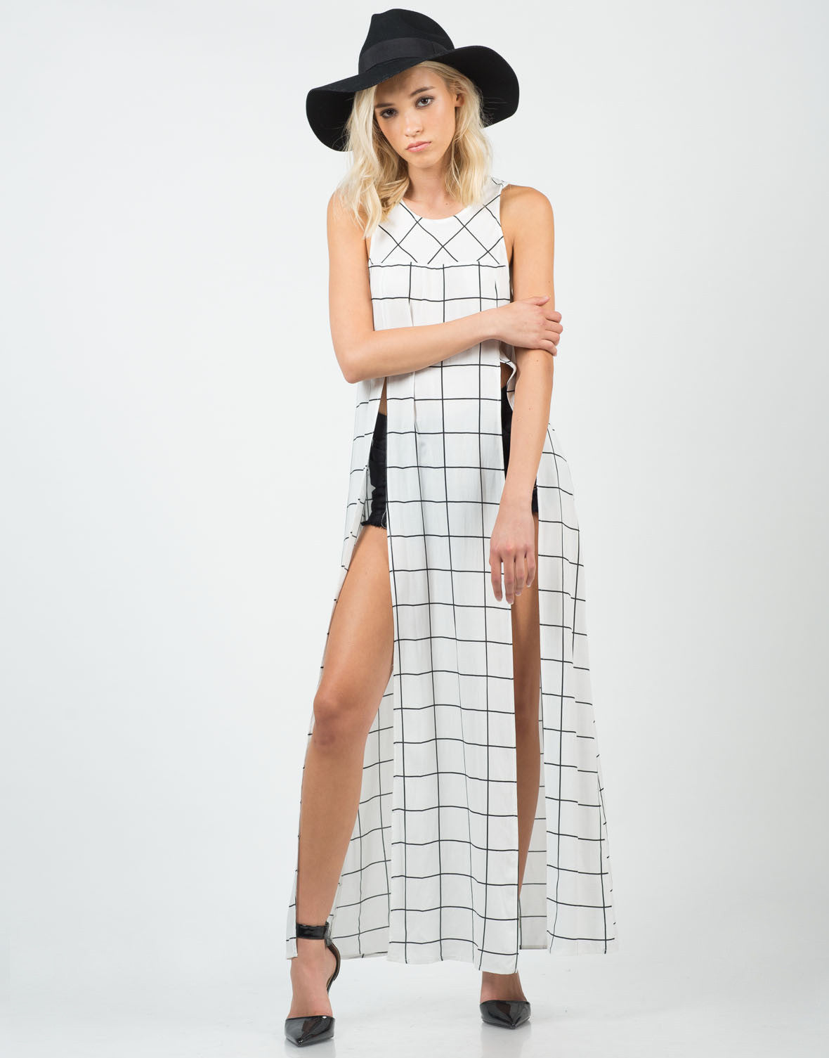Front View of Gridline Shirt Dress