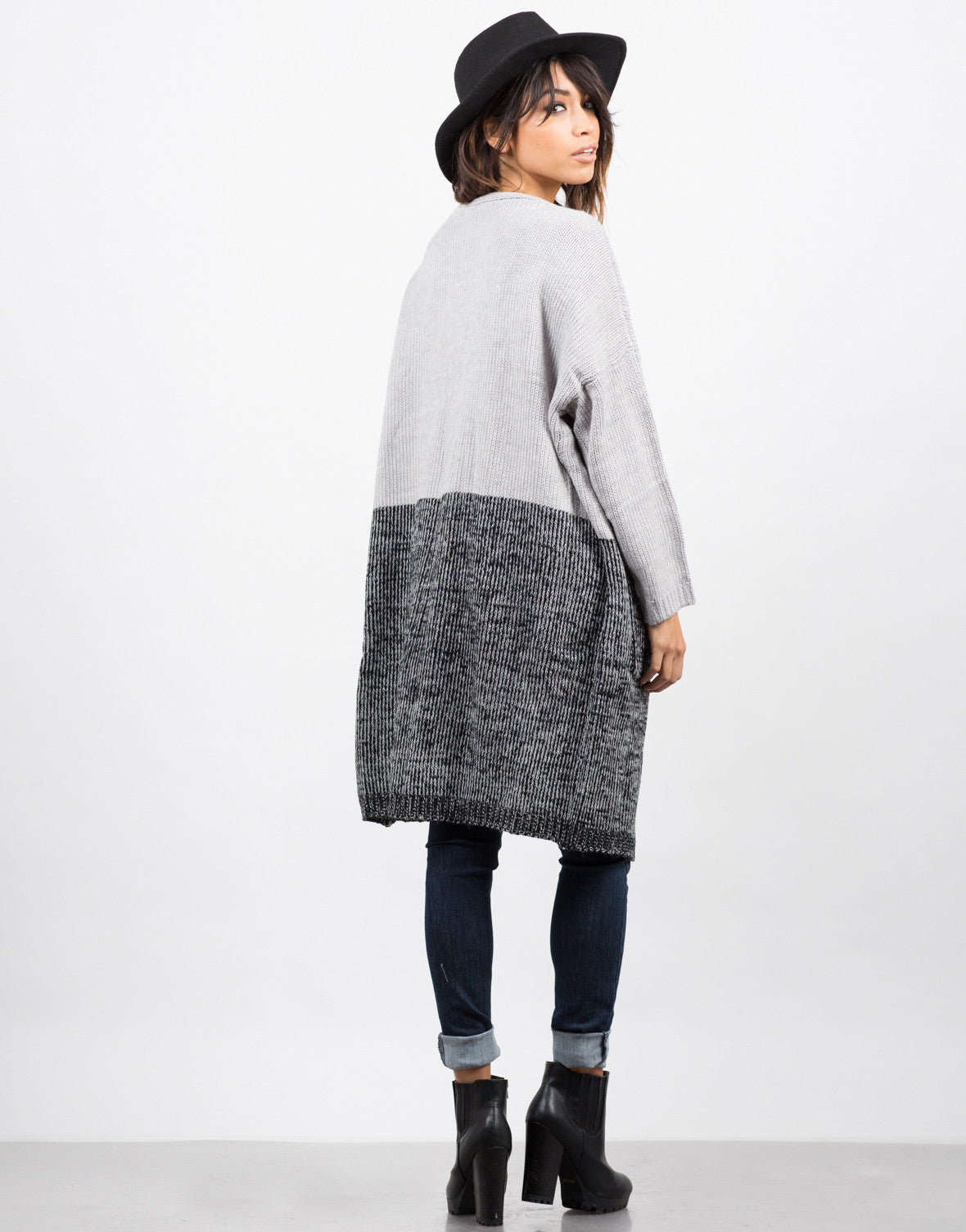 Back View of Half and Half Cardigan
