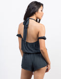 Back View of Halter Cold Shoulder Romper