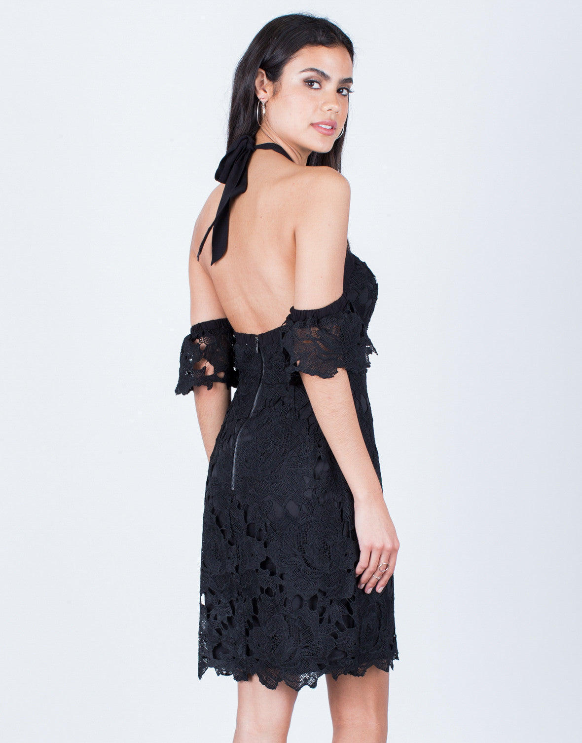 Back View of Halter Crochet Dress