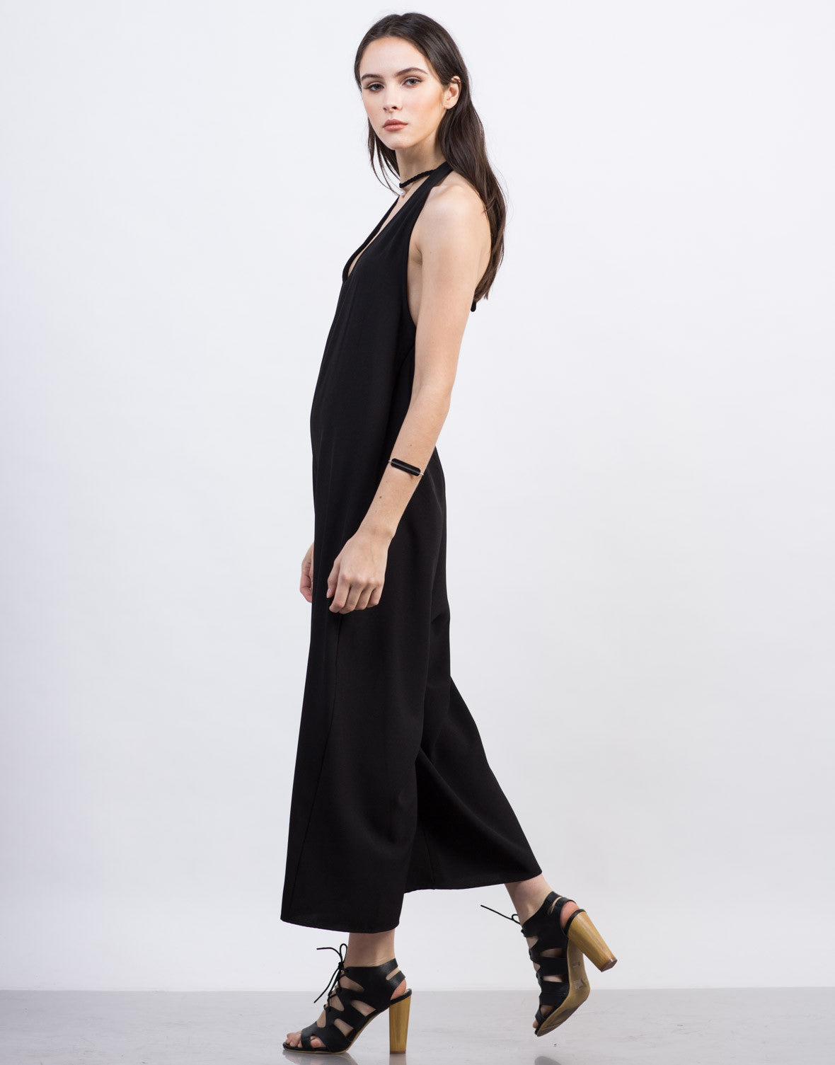 Side View of Halter Culotte Jumpsuit