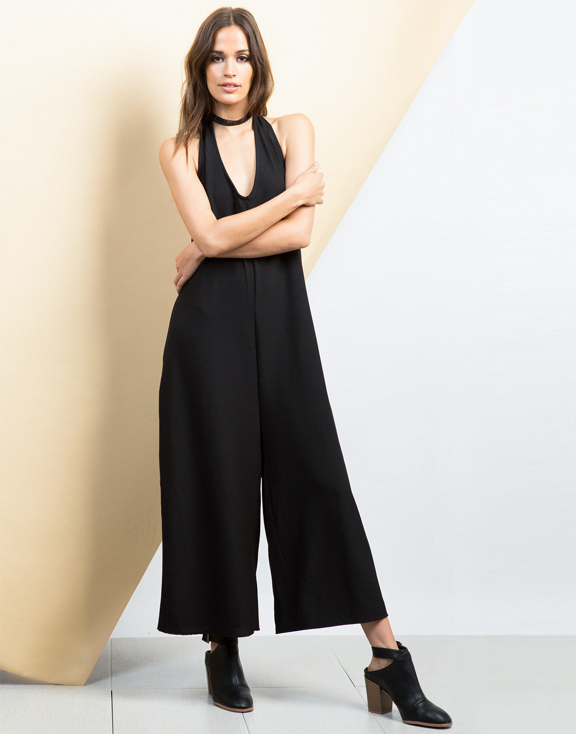 Front View of Halter Culotte Jumpsuit - Feature View