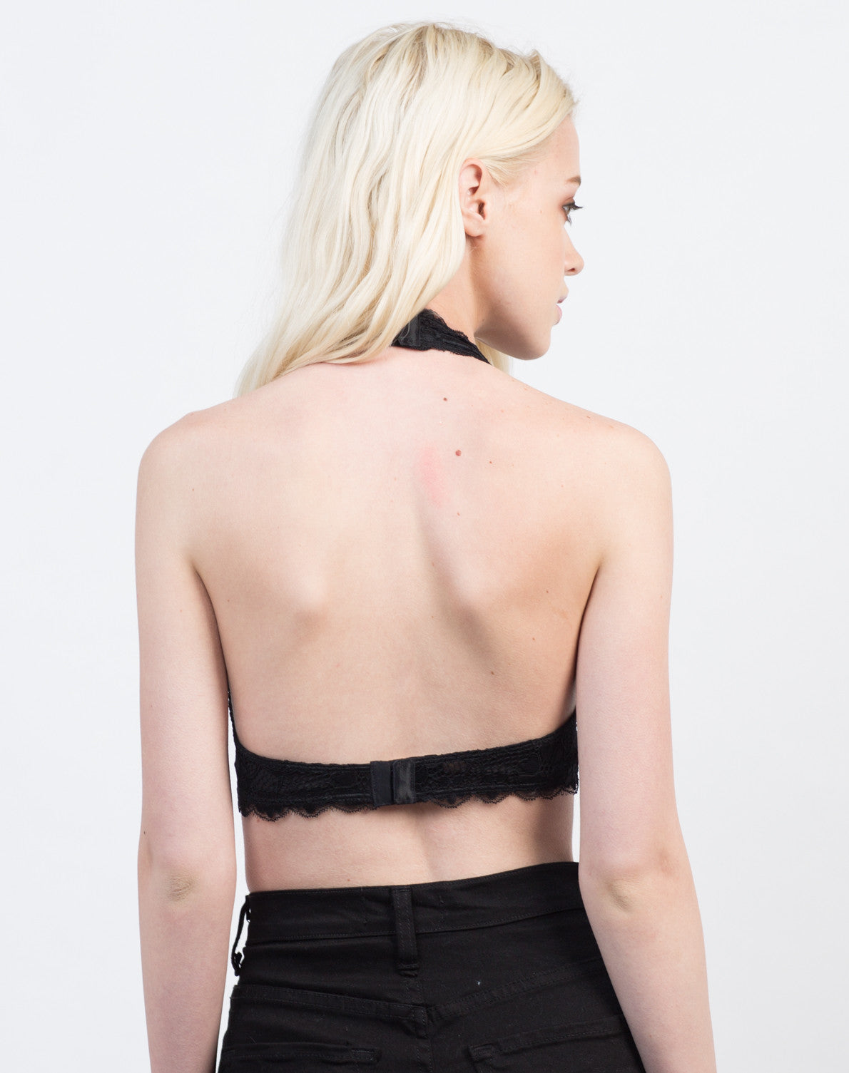 Back View of Halter Lace Bra
