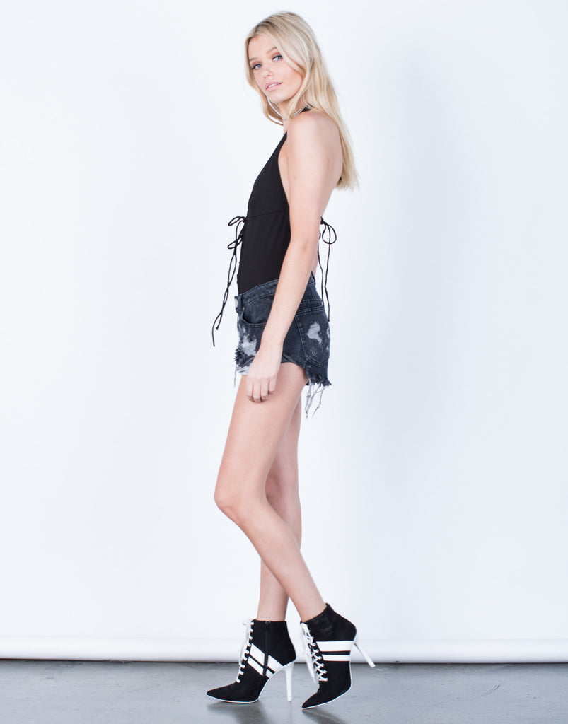 Side View of Halter Lace-Up Bodysuit