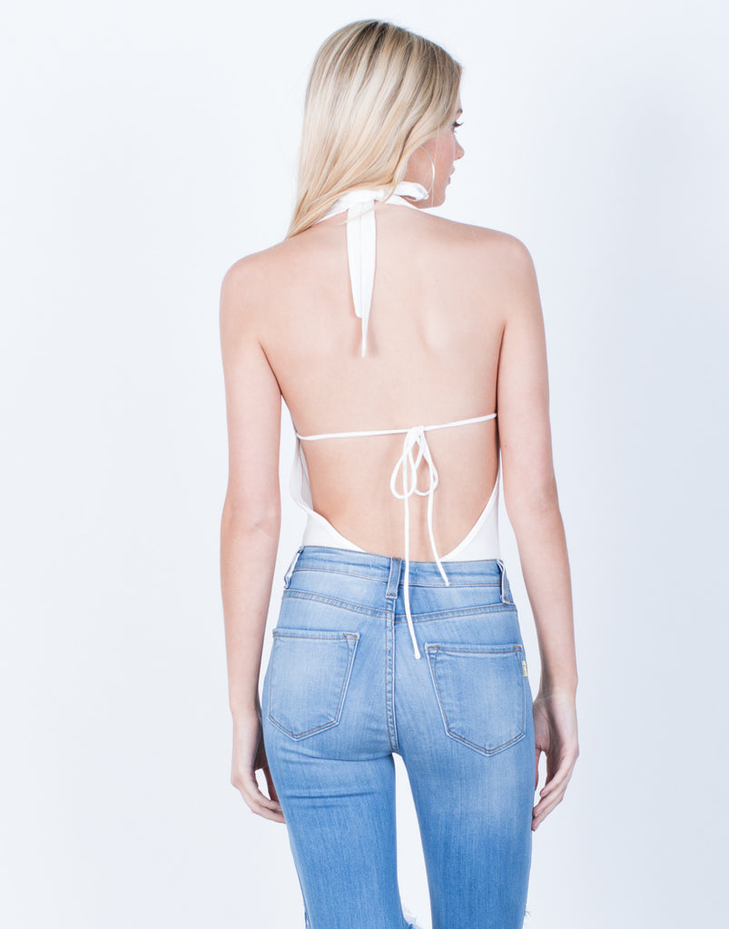 Back View of Halter Lace-Up Bodysuit