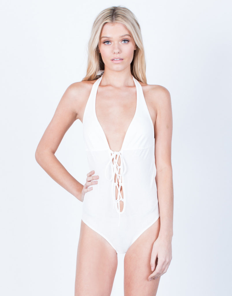 Front View of Halter Lace-Up Bodysuit
