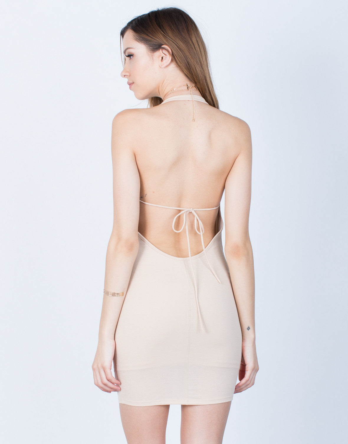 Back View of Halter Lace-Up Dress