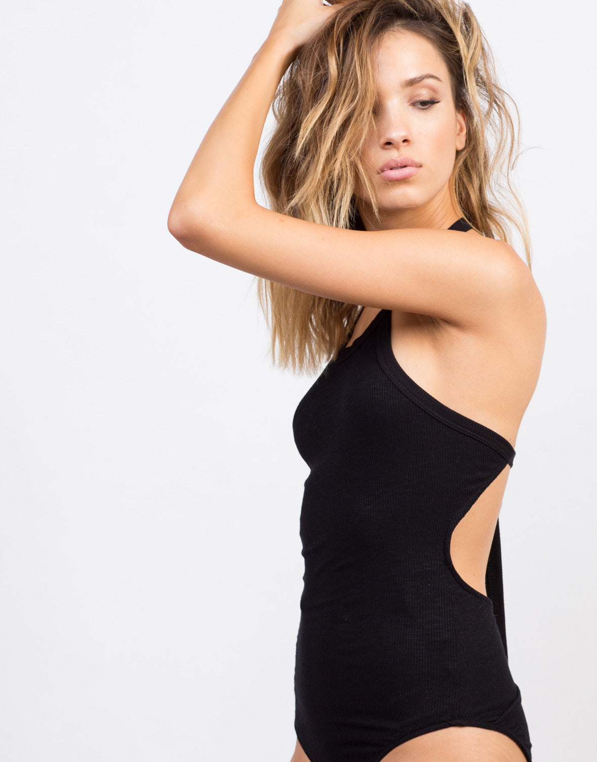 Detail of Halter Ribbed Bodysuit