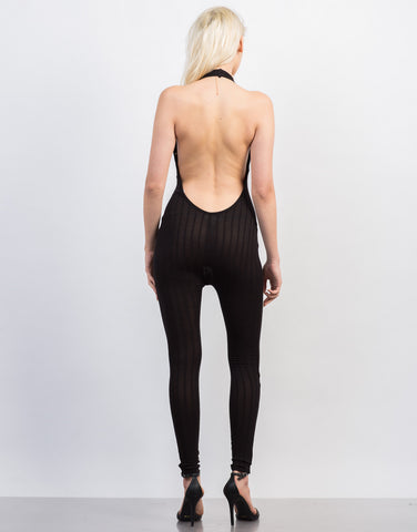Back View of Halter Ribbed Jumpsuit