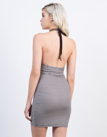 Back View of Halter Striped Dress