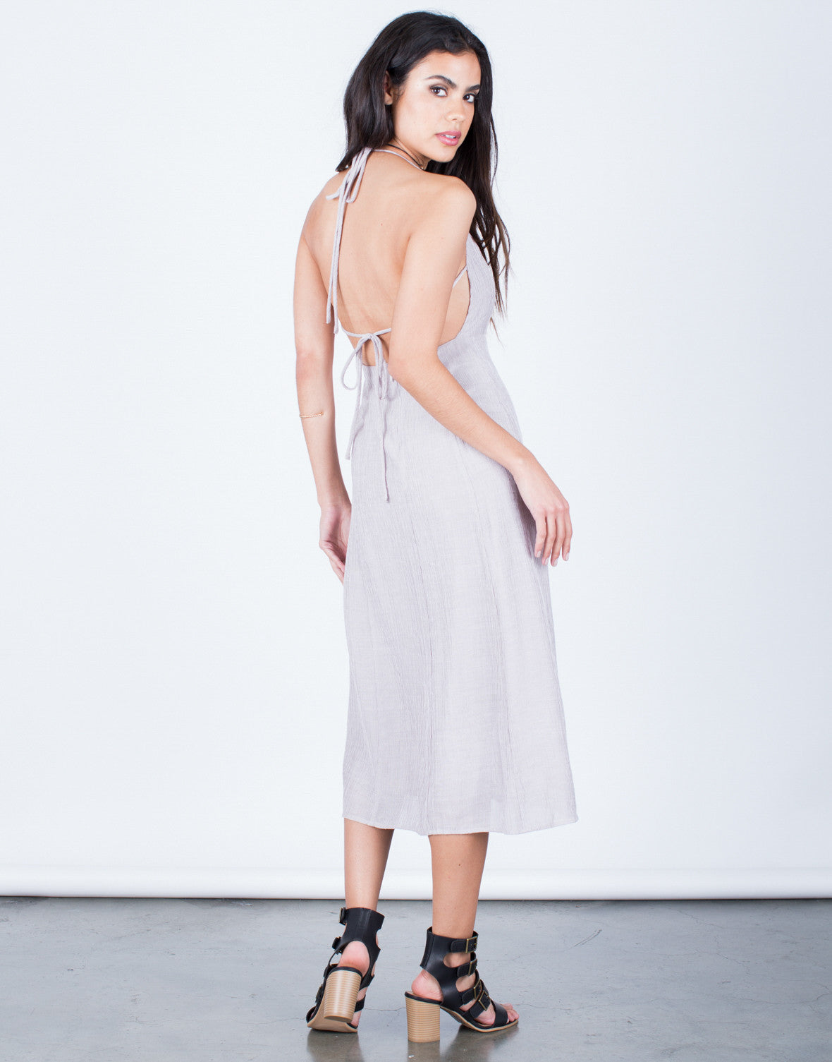 Back View of Halter Tied Midi Dress