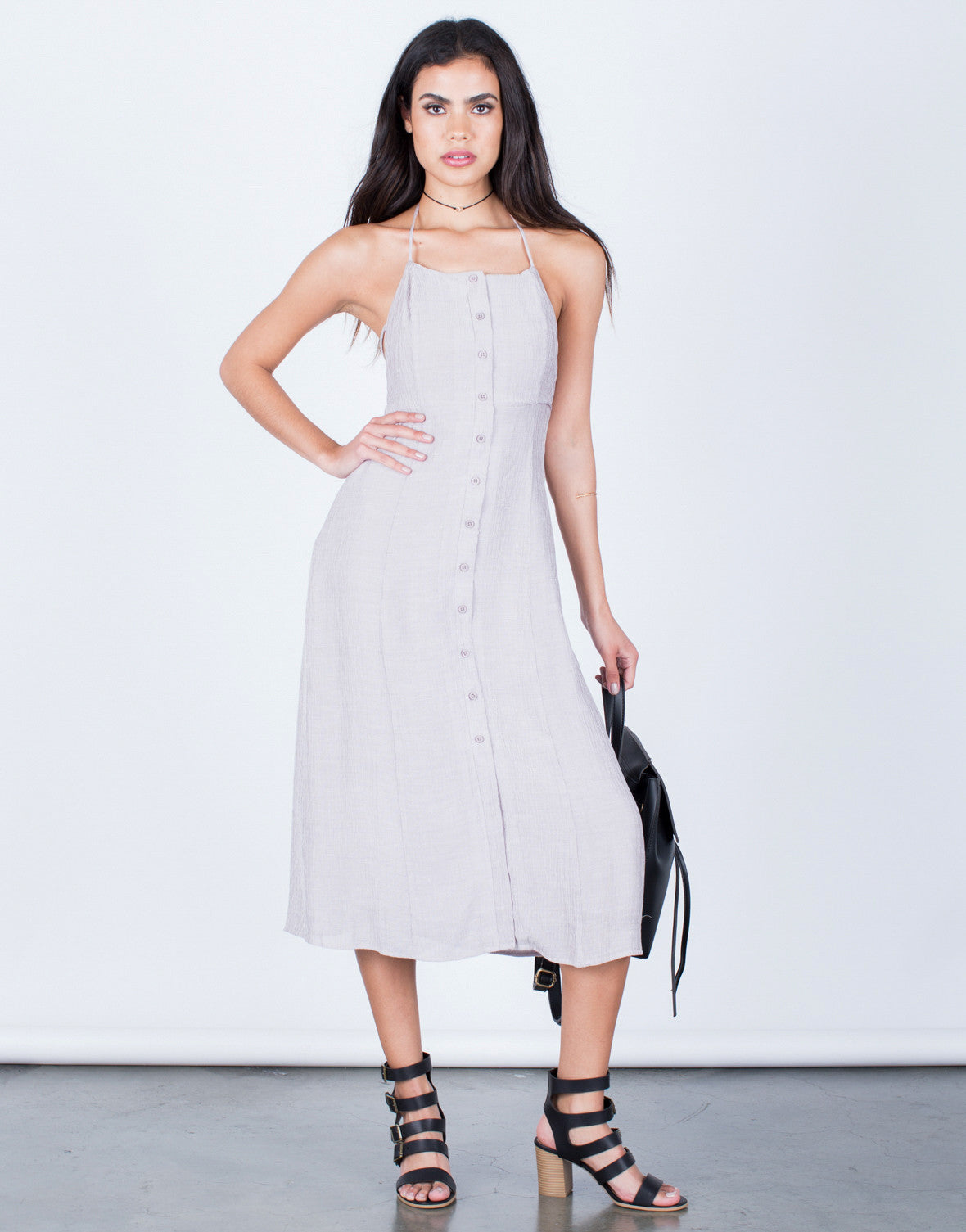 Front View of Halter Tied Midi Dress