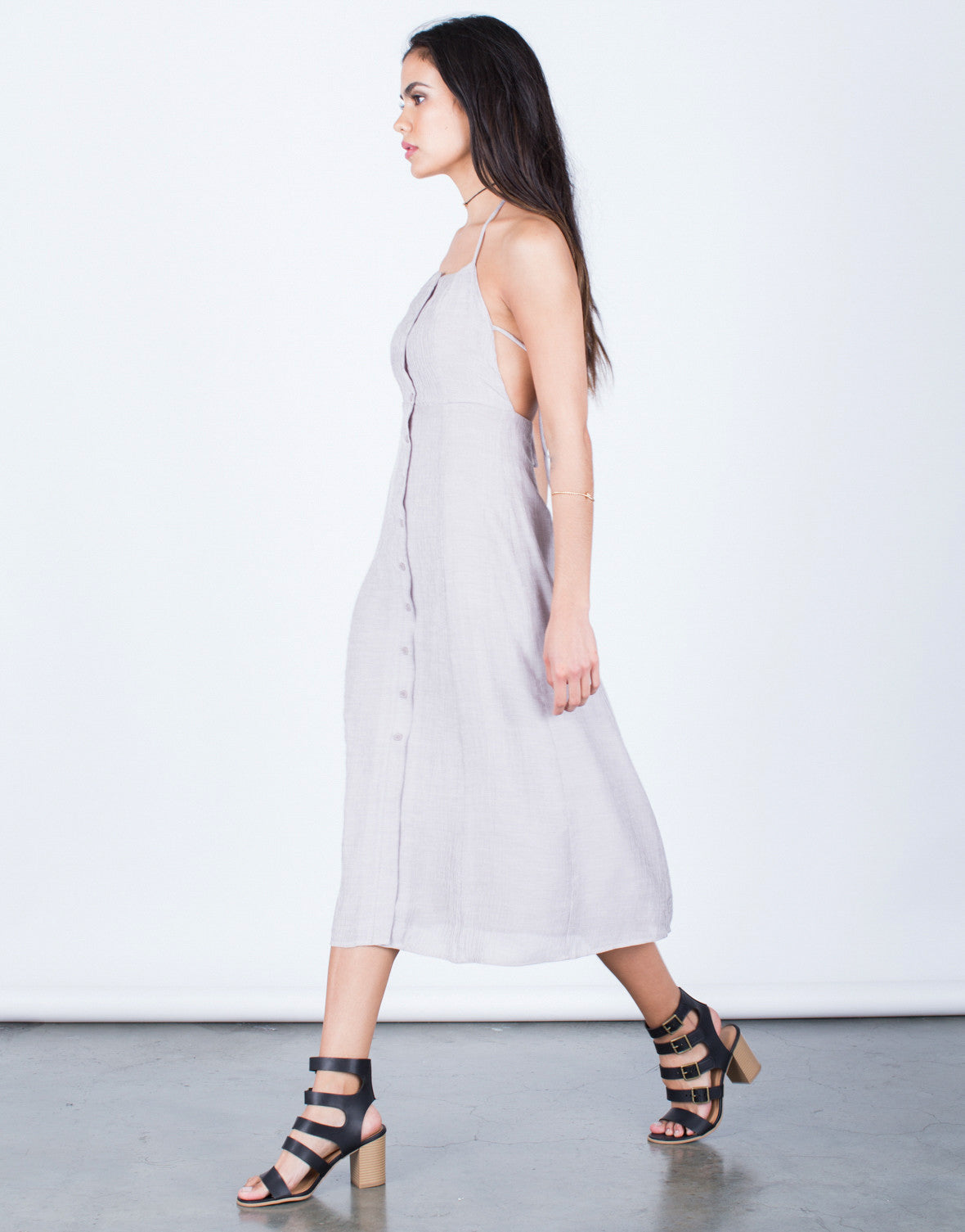 Side View of Halter Tied Midi Dress