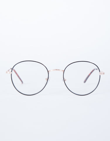 Gold Clear View Round Glasses - Front View