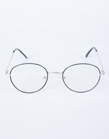 Silver Clear View Round Glasses - Top View