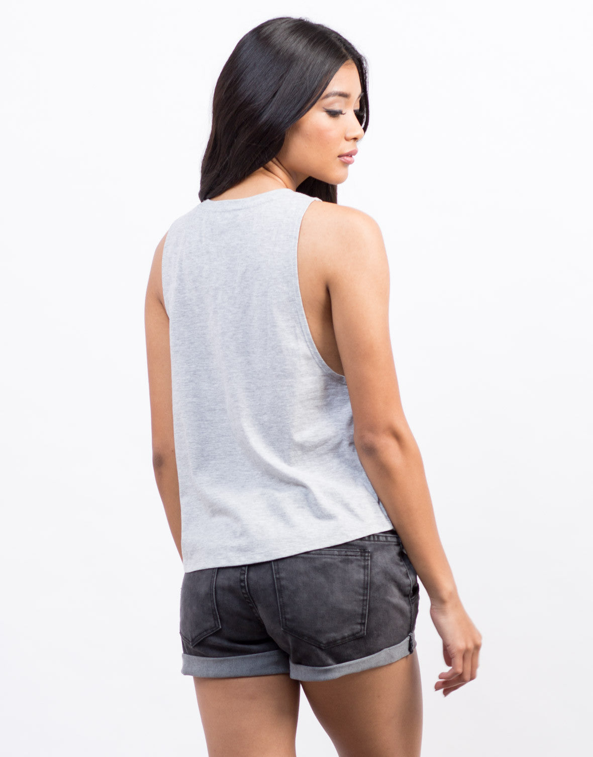 Back View of Harvard Law Muscle Tee