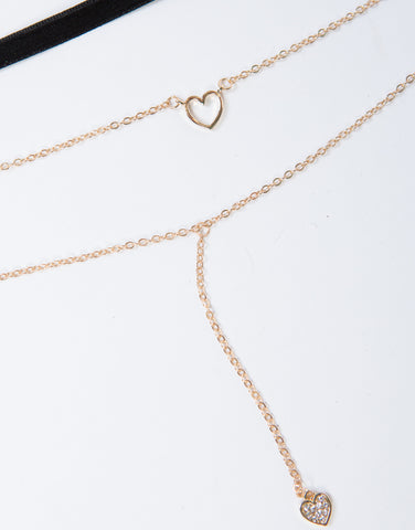 Heart Layered Choker Necklace - 2020AVE