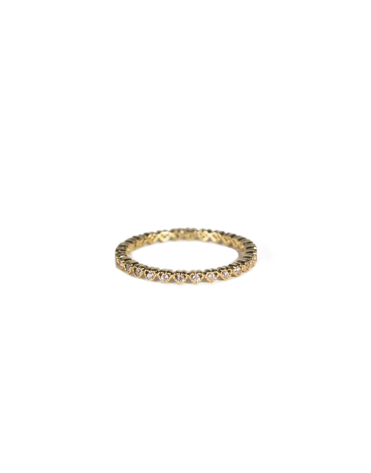 Heart Stoned Band Ring - Gold
