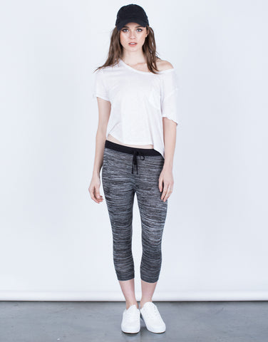 Front View of Heathered Capri Joggers