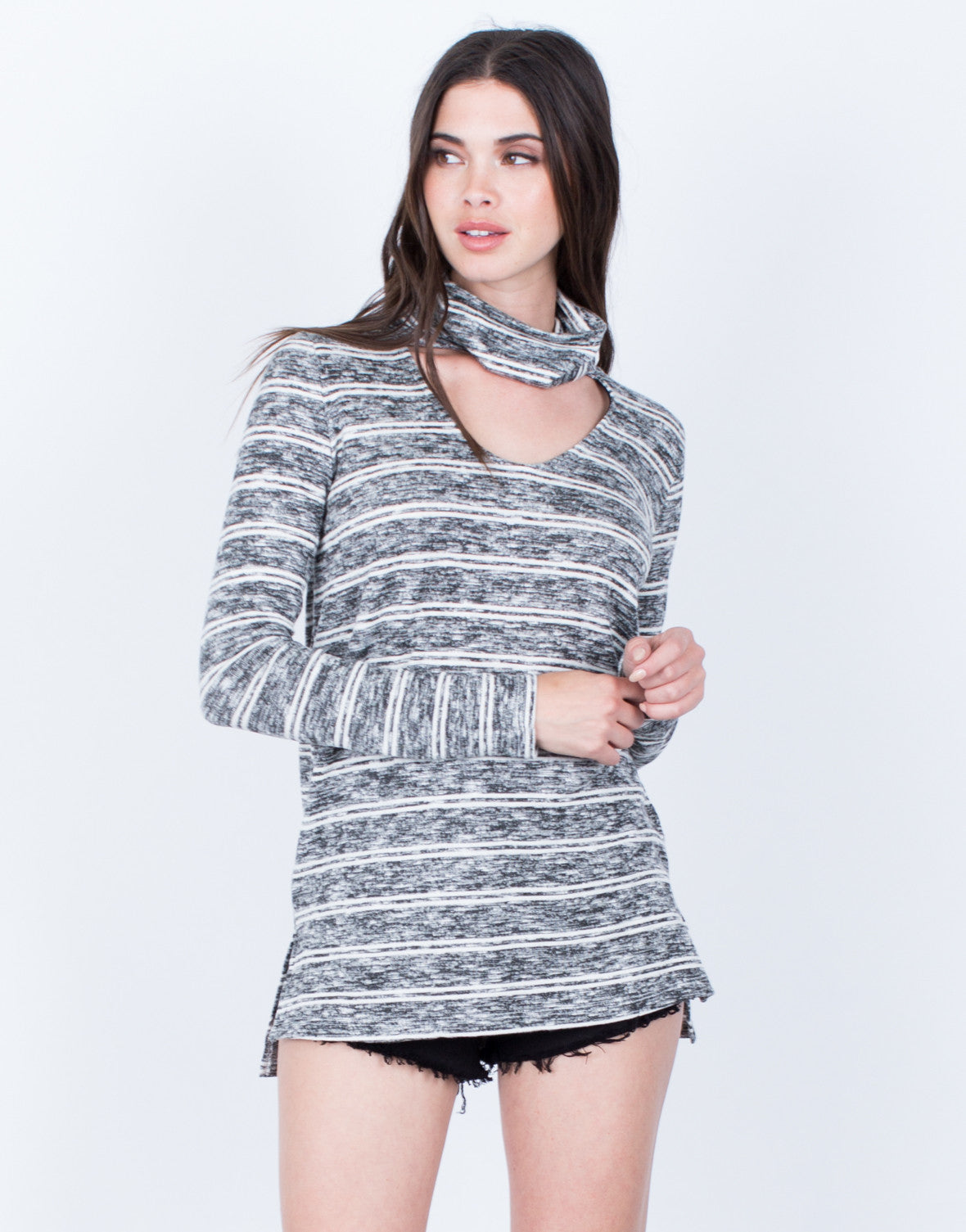 Front View of Heathered Choker Sweater Top