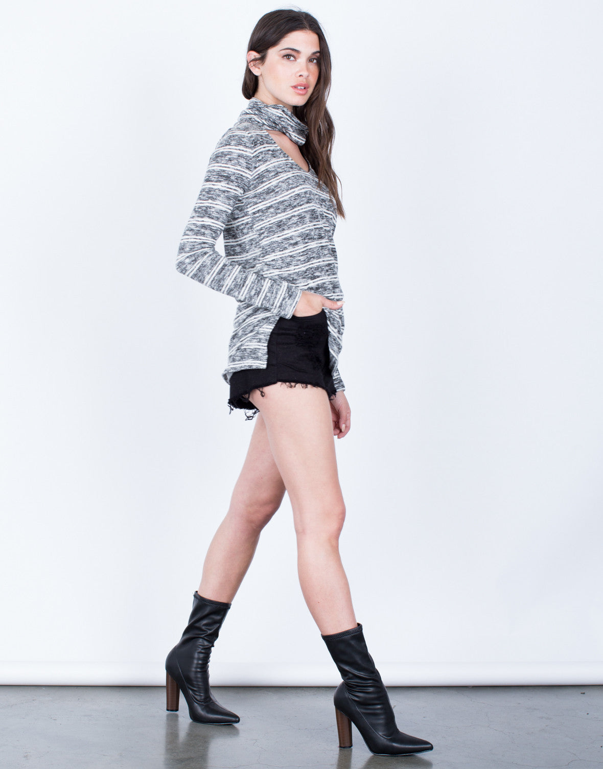 Side View of Heathered Choker Sweater Top