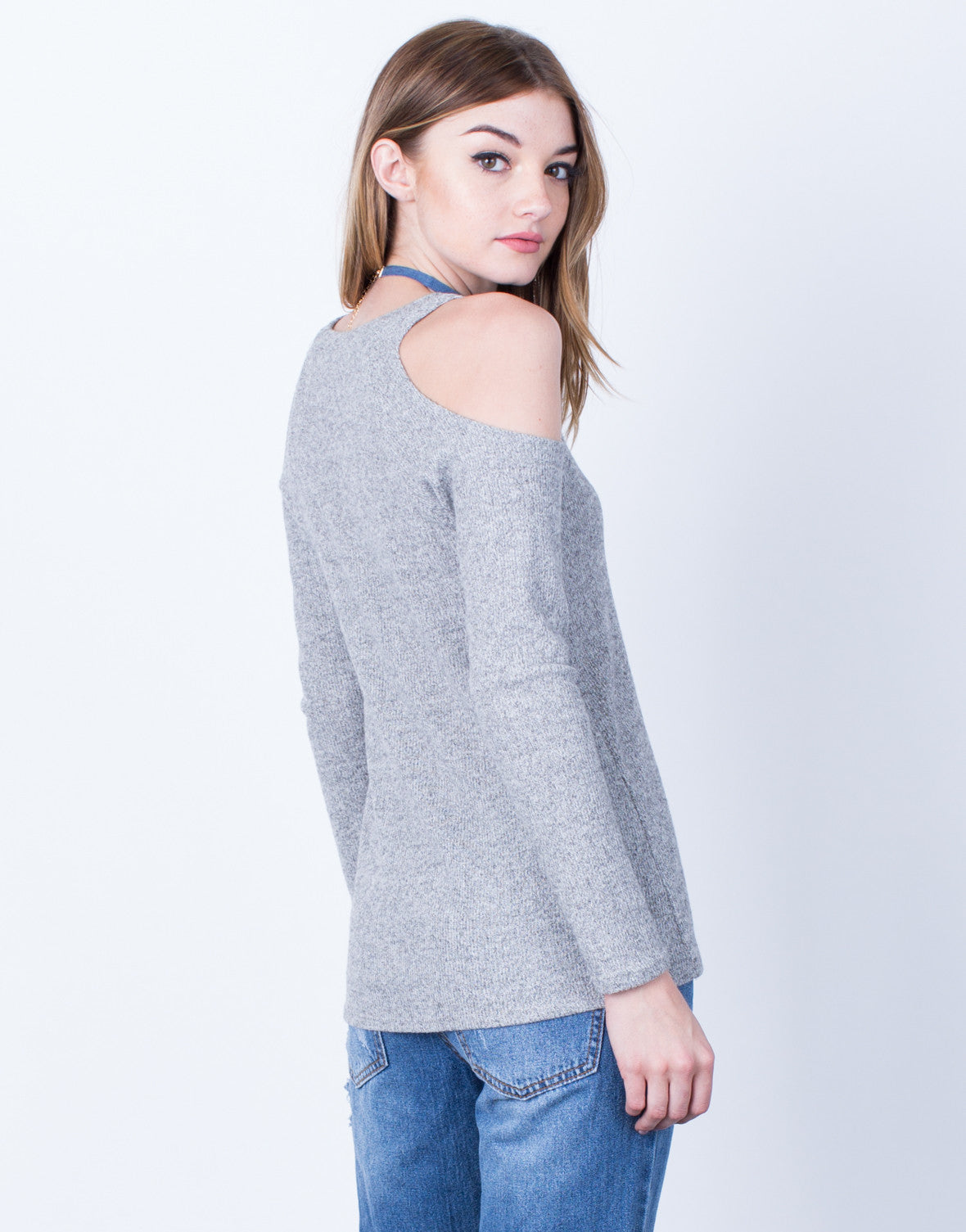 Back View of Heathered Cold Shoulder Top
